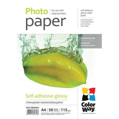 COLORWAY Fotópapír, fényes öntapadó (glossy self-adhesive), 115 - 80g/m2, A4, 50 lap