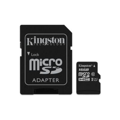 KINGSTON Memóriakártya MicroSDHC 16GB CL10 UHS-I Canvas Select (80/10) + Adapter